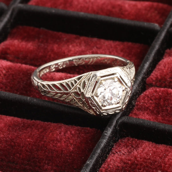 Art Deco White Gold Filigree .50ct Old Mine Cut Diamond Engagement Ring