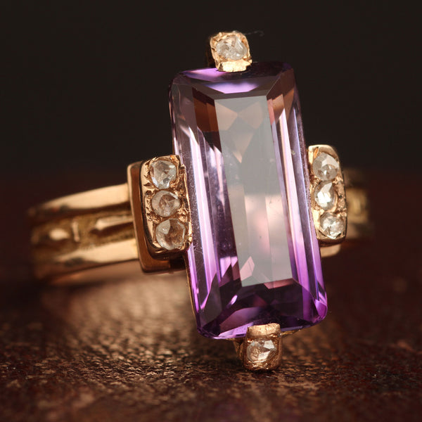 Victorian Amethyst and Rose Cut Diamond Ring