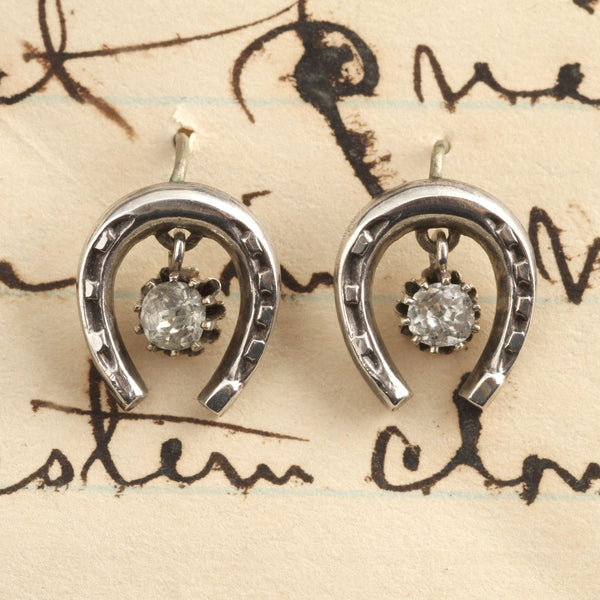 Edwardian Silver and Paste Horseshoe Earrings