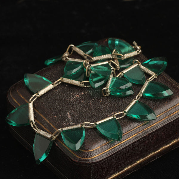 Art Deco Green Glass and Chrome Collar