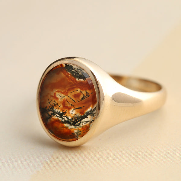 Edwardian Moss Agate Signet Ring