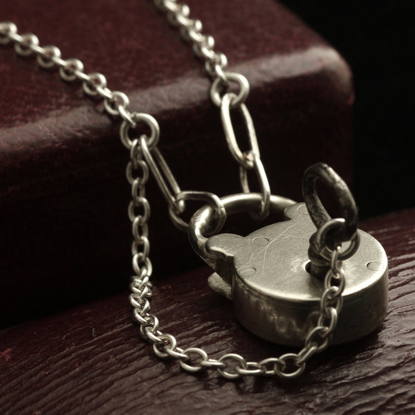 Victorian Silver Padlock and Key Necklace