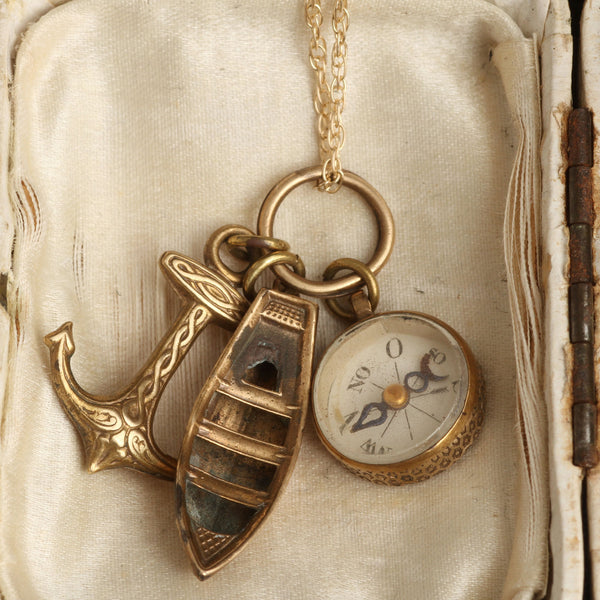 19th Century Miniature Compass with Anchor and Boat Charms