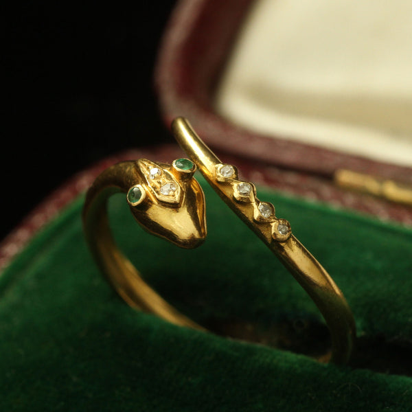 Vintage Portuguese Serpent Ring with Emeralds and Diamonds
