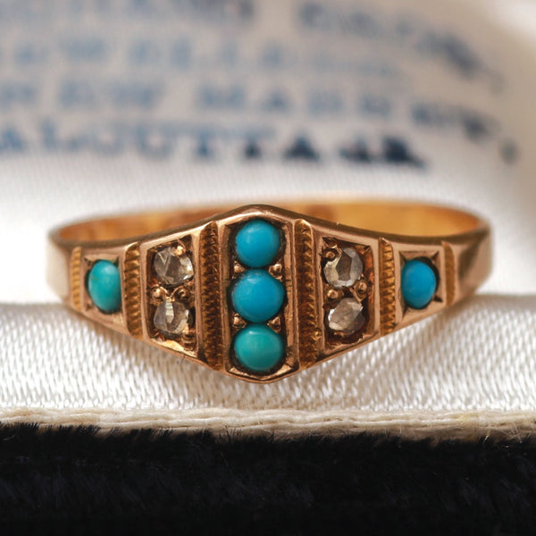 Victorian Turquoise and Rose Cut Diamond Ring