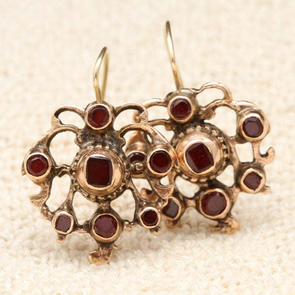Georgian Gilt Silver Garnet Earrings Erica Weiner