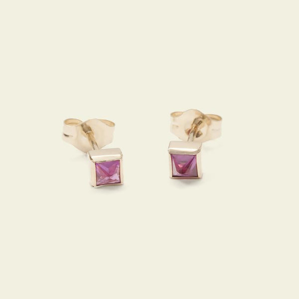 Pyramid Earrings (Ruby)