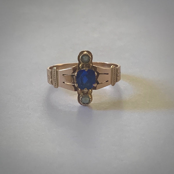 Victorian Blue Paste and Seed Pearl Ring