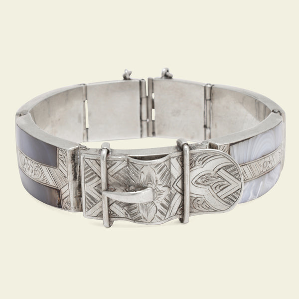 19th Century Scottish Silver Belt Bracelet with Agate Inlay