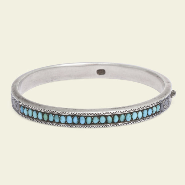"19th Century Russian Niello Silver and Turquoise ""Souvenir"" Bangle"