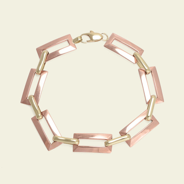 Retro Rose and Yellow Gold Chain Link Bracelet