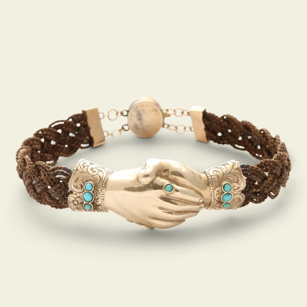 Victorian Braided Hair Bracelet with Gold and Turquoise Fede