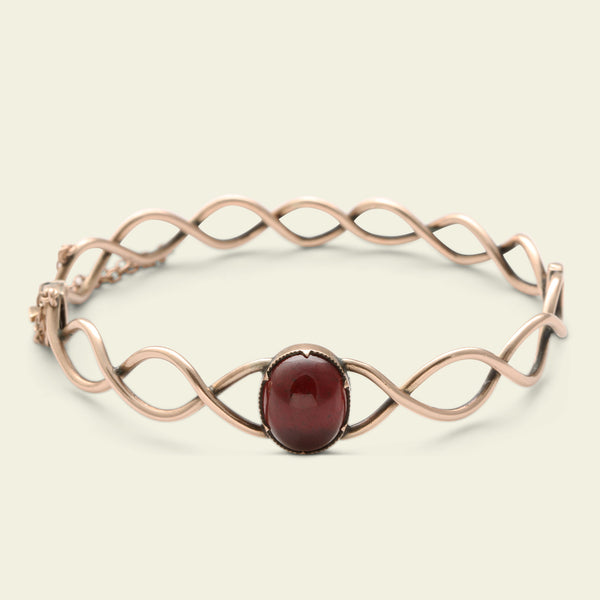 Edwardian Rose Gold and Garnet Infinity Bracelet
