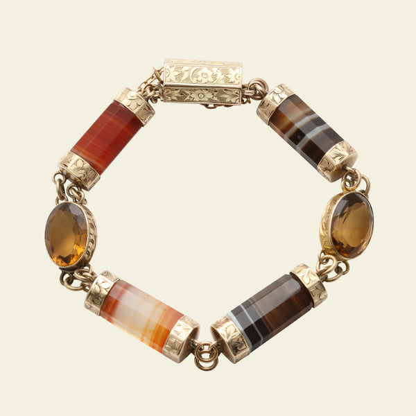 Victorian Scottish Agate and Cairngorm Gold Bracelet