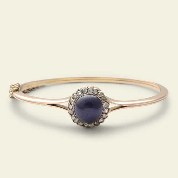 Victorian Lapis and Rose Cut Diamond Cluster Bangle
