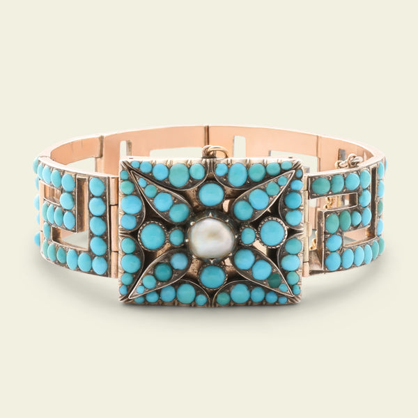 Victorian Rose Gold and Turquoise Greek Key Bracelet