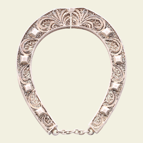 Silver Filigree Horseshoe Bangle