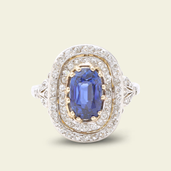 Edwardian 2.44ct Burma Sapphire and Diamond Cluster Ring