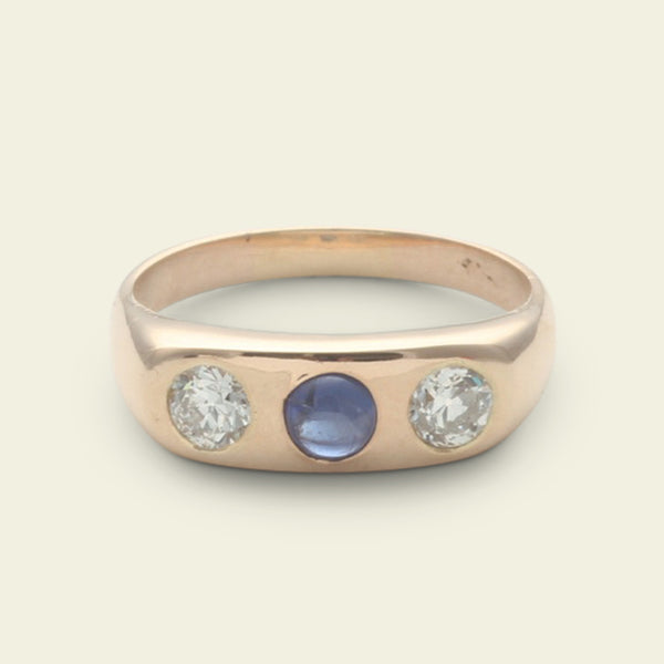 Late Victorian Sapphire Cabochon and Old European Cut Diamond Three Stone Ring