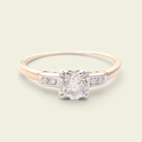 1940s .65ct Transitional Cut Diamond Ring