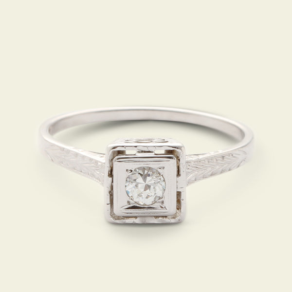 Deco Square .15ct Old European Cut Diamond Solitaire