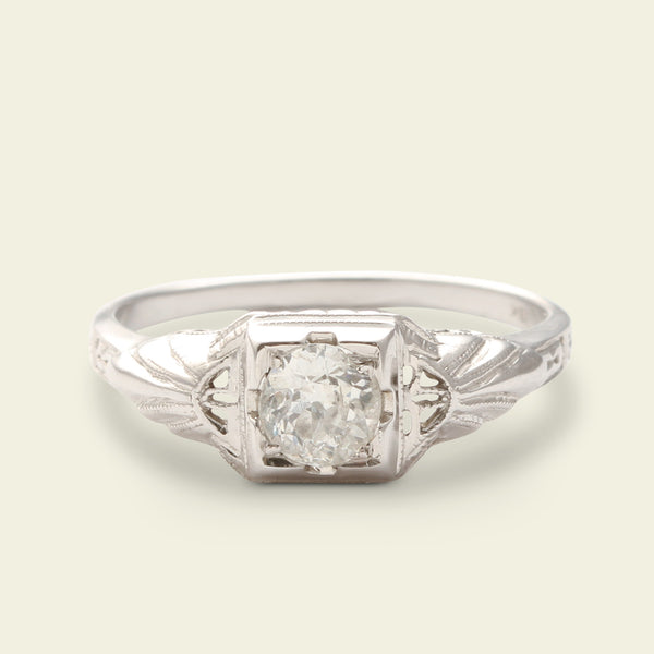 1930s .50ct Old European Diamond Ring with Winged Shoulders