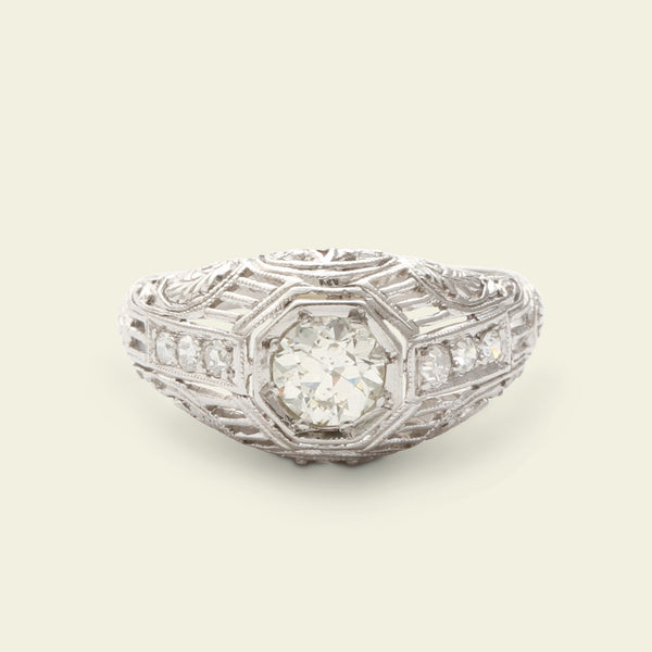 Deco Platinum Bombé Ring with .40ct Old European Cut Diamond