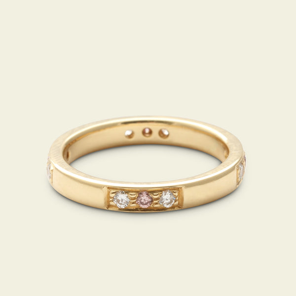 White and Pink Diamond Interstitial Wedding Band