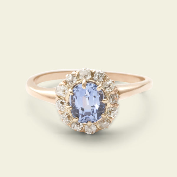 Victorian Periwinkle Blue Sapphire and Diamond Cluster Ring