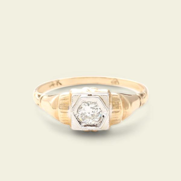 Vintage Two Tone .25ct Diamond Ring with Ridged Shoulders