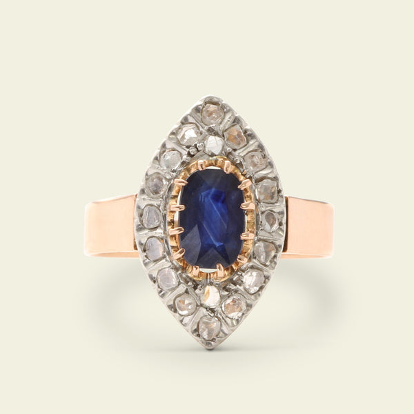19th Century French Sapphire and Rose Cut Diamond Navette Ring