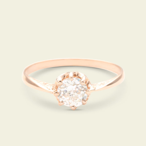 Contemporary .66ct Crown Jubilee Diamond Solitaire