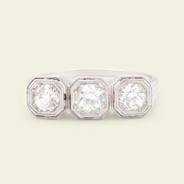 Edwardian Filigree Diamond Trilogy Ring