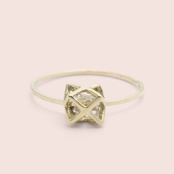 Caged Herkimer Ring