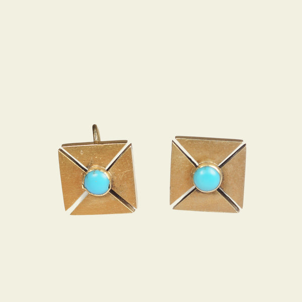 Victorian Turquoise Maltese Cross Earrings
