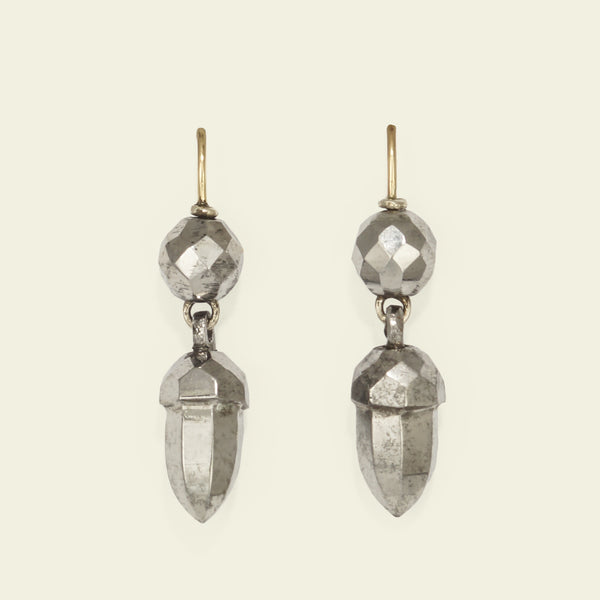 Faceted Steel Acorn Earrings