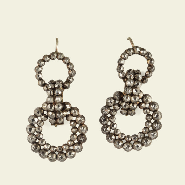 Victorian Cut Steel Link Earrings