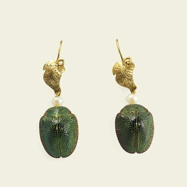 Victorian Scarab Earrings with Leaves and Pearls