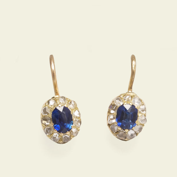 Edwardian Diamond and Sapphire Cluster Earrings