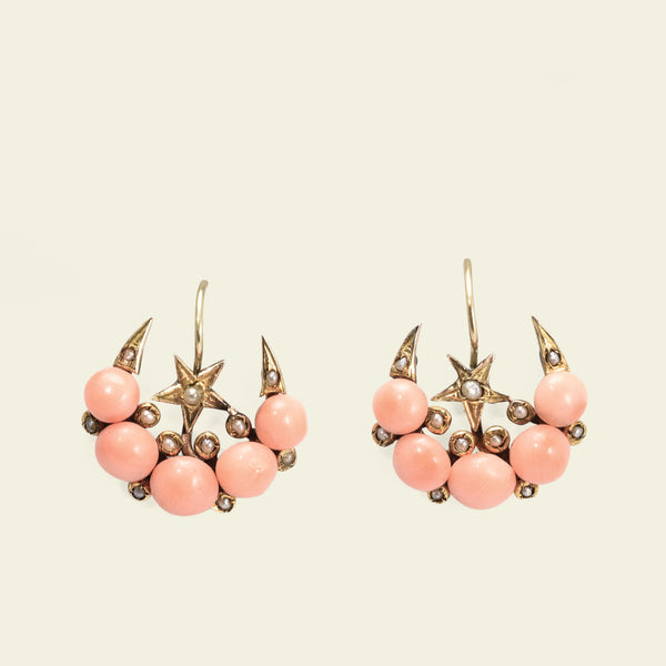 Victorian Celestial Coral and Seed Pearl Earrings