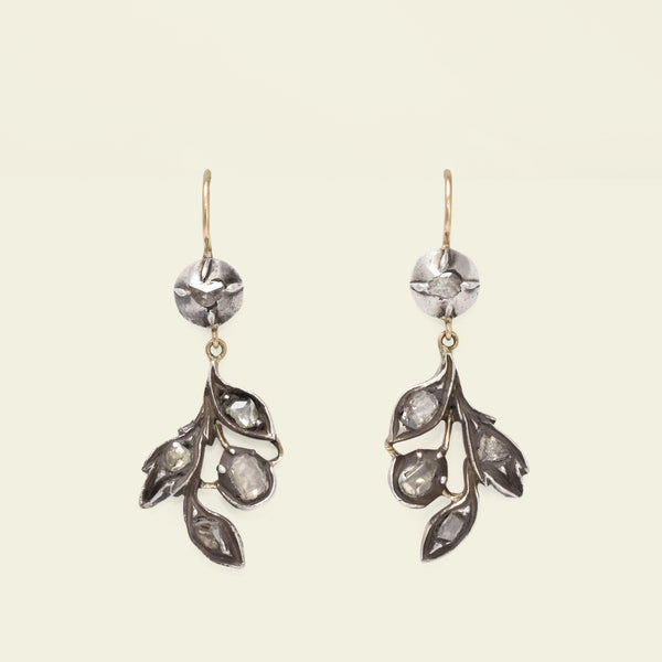 Georgian Foliate Diamond Earrings