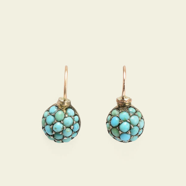 Petite Victorian Turquoise Pavé Earrings