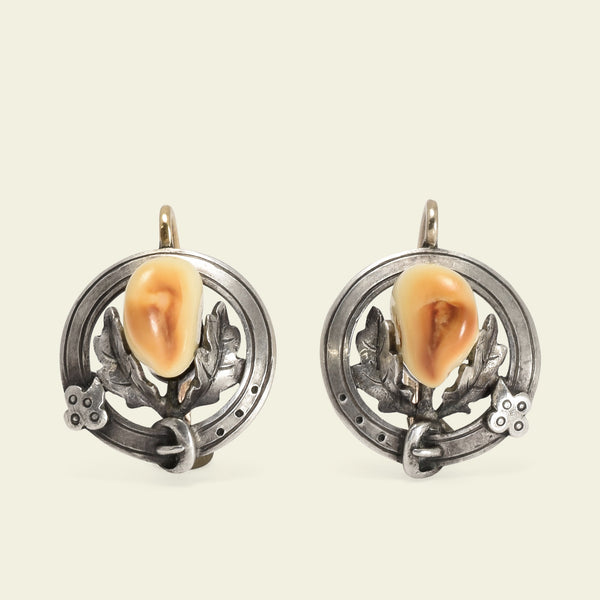 Victorian Elk Teeth Earrings with Oak Leaves and Garters