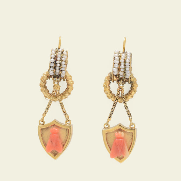 Victorian Seed Pearl and Coral Fly Earrings
