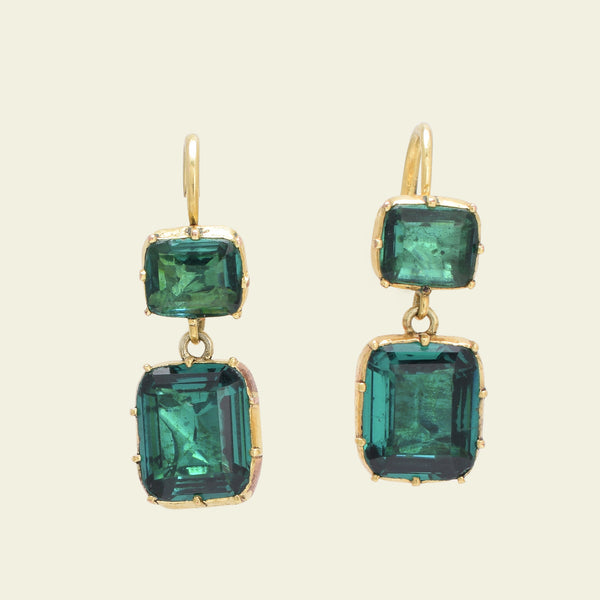 Georgian Green Paste Drop Earrings - Layaway - 4th and final payment