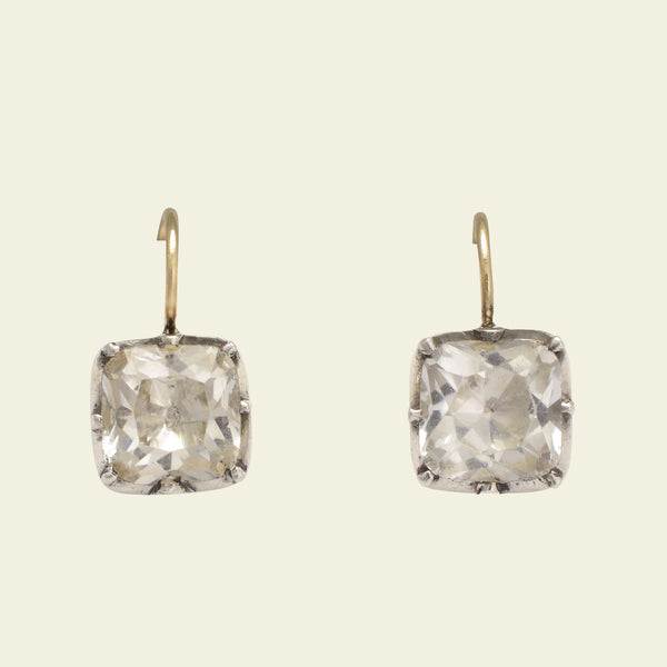 Georgian Cushion Cut Crystal Earrings