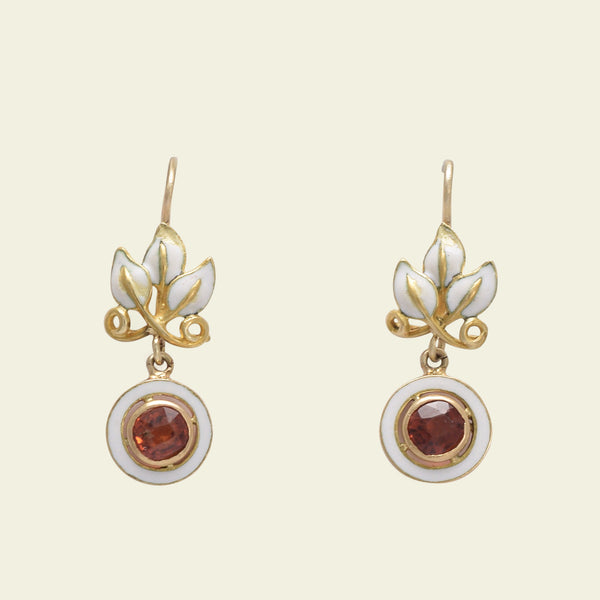 Foliate White Enamel and Hessonite Garnet Earrings