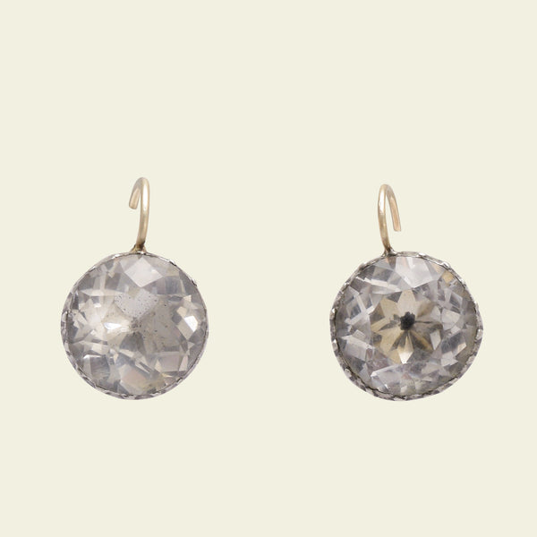 Georgian Round Rock Crystal Earrings