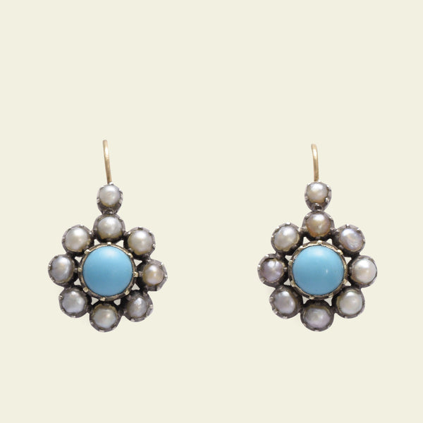 Early Victorian Turquoise and Pearl Cluster Drop Earrings