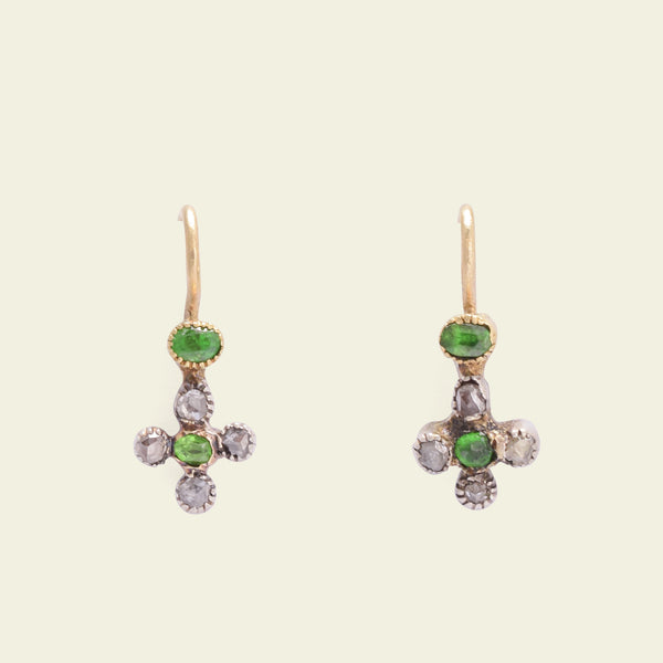 Tiny Demantoid Garnet and Rose Cut Diamond Cruciform Earrings